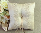 Silk Wedding Ring Pillow, Vintage French Lace with Champagne Raw Silk