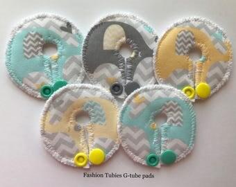 Set of 5 G tube pads / gtube pads / g-tube pads / gtube covers / feeding tube pads / g tube covers / mic-key button cover / AMT mini button
