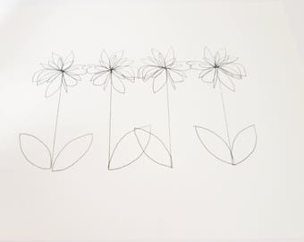 "ORIGINAL Botanical Drawing; Minimalist Flower Drawing; Abstract Flower Painting; ""Blume"" Art Pen on 185g Canson Paper; #2"