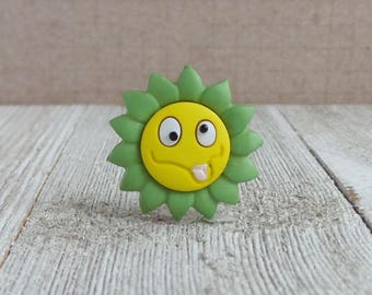 Flower - Sick Face - Silly - Mood - Green and Yellow Flower - Lapel Pin