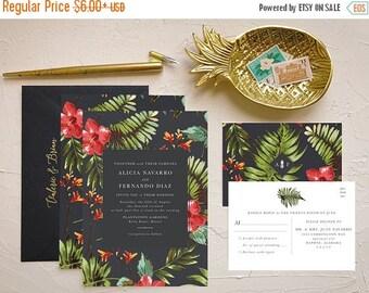 Tropical Hawaiian Wedding Invitation for Beach Weddings