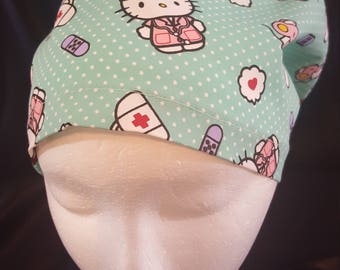 Medical Hello Kitty Euro Style Back Surgical Scrub Hat