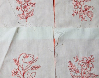 Four machine embroidered floral red work quilt blocks
