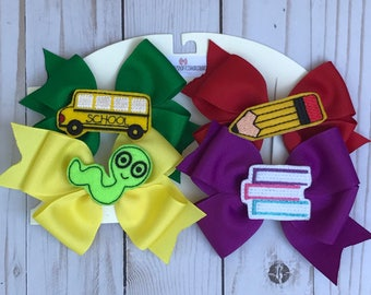 Back to school bow set, pig tail set, learning bow set, first day of school bows, 100th day of school bow