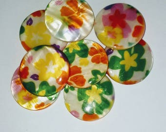X 2 mother of Pearl puck beads floral 25mm