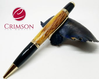 The Gatsby Pen in 24kt gold crafted from Exotic Asian marblewood