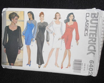 Misses dress Butterick 6402 Womens Size 6-12 Petite Formal Evening Semi fitted lined