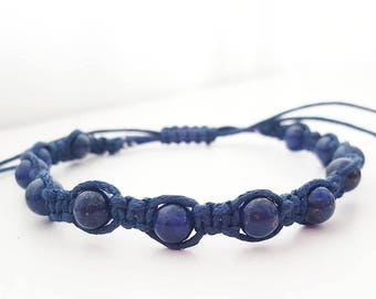 Handmade shamballa bracelet with 6mm lapislazuli, waxed cord and 5mm stainlees steel spacers