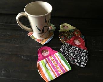 Sweet Matryoshka Coasters