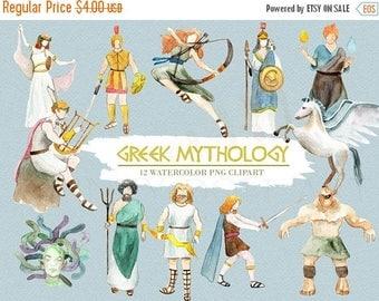 50% Off Greek Mythology Clipart Watercolor Digital Download Greece Vector God Goddess Ancient Trident Medusa Zeus Travel Invite Paint Origin