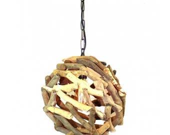 Driftwood Ball Pendant Chandelier Ceiling Mounted Light Fixture Nautical Rustic Lodge Feel