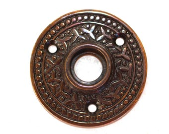 "Brass Victorian Rosette Round Rice Door Plate ""The York"" Old Style Aged Bronze"