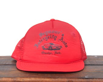 "Vintage Seymour's ""Intergrity"" Auto Car Repair Garage Nebraska Trucker Hat Snapback Baseball Cap"