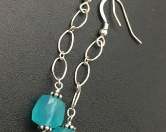 Aqua Chalcedony Earrings, Long Chalcedony Earrings, Cube Earrings, Gemstone Earrings, Aqua Earrings, Earrings under 40