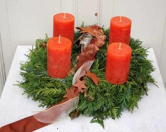 Advent Wreath Christmas wreath freshly bound with 4 orange candles 41 cm