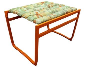 Mid-Century Modern Samsonite Atomic Orange Iron Outdoor Ottoman/Bench