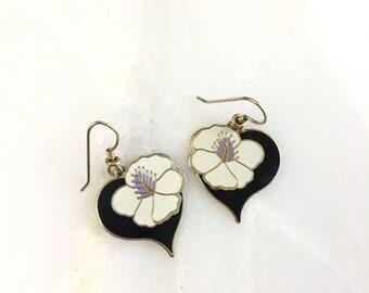 Vintage Laurel Burch Black Purple Hibiscus Flower Enamel Cloisonne Floral Dangle Earrings