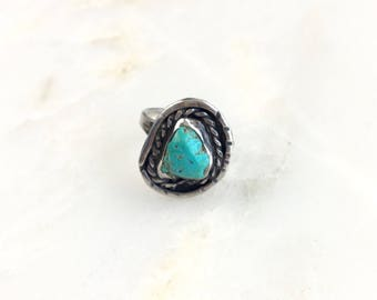 Vintage Sterling Navajo Turquoise Ring Size 7.75