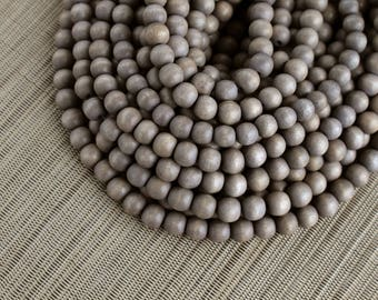 10mm Light Grey Gray Round Wood Beads - Dyed and Waxed - 15 inch strand