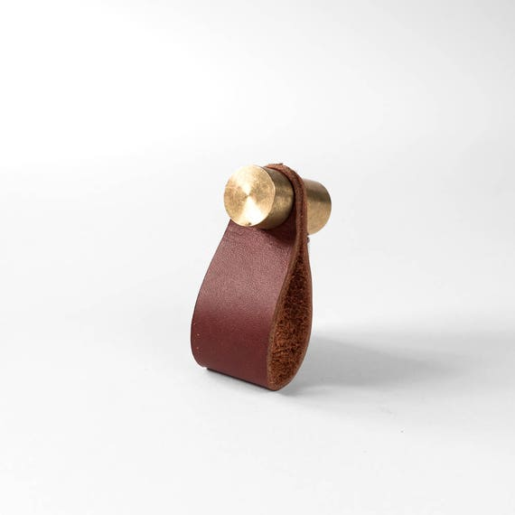 Cassidy Pull - Raw Brass + Rustic Red Leather