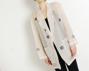 sheer silk painted blazer