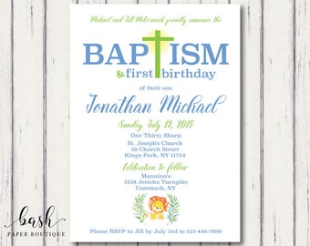 Baptism and First Birthday invitation 1st joint