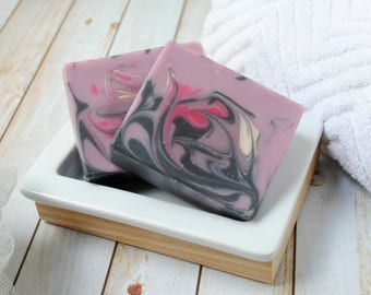 Fruity Artisan Soap - Black Raspberry Vanilla Goat Milk Soap - Raspberry Handmade Soap - Raspberry Vanilla Goat's Milk Soap for Her