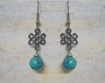 Turquoise earrings with Celtic Endless Knot charm, Surgical Steel Posts CCS04