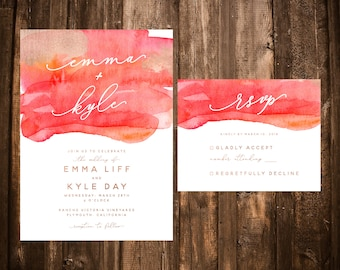 Coral Watercolor Wedding Invitations; Orange, Coral; Printable OR Printed