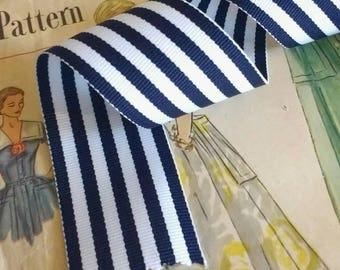 "Navy Blue and White Striped Ribbon, Striped Grosgrain Ribbon 1.5"""