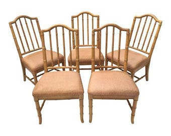 High Quality Set Of 5 Vintage Hollywood Regency Faux Bamboo Dining Chairs