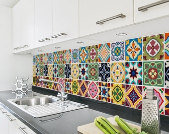 Talavera Tile Decals - Tile Stickers Set - Talavera Traditional Tiles Kit - Tiles for Kitchen - Kitchen Backsplash - PACK OF 24