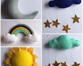 Figurine baby mobile - Cot mobile - Sun mobile - Moon mobile - Cloud mobile - Rainbow mobile - Sun, moon, cloud and rainbow