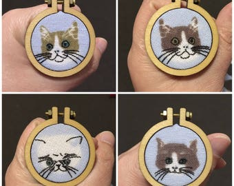 Cat Mini Embroidery Hoop Brooches Pins Pendant Necklaces (Small)