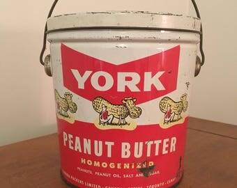 Vintage Bilingua York Peanut Butter Tin Pail
