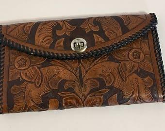 Vintage Tooled Leather Ladies Wallet