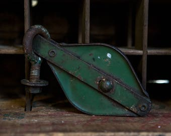 Vintage Green Weathered Industrial Pulley.