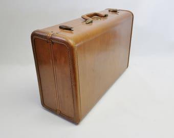 Samsonite Suitcase - Medium Samsonite Camel Brown Suitcase - Samsonite Luggage - Brown Suitcase - Vintage Mid Century Suitcase - Storage