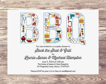Stock the Shed, Stock the Grill, BBQ Invitation, BBQ Couples Shower, BBQ Shower, Couples Shower Invitation, Shower Invite for Couples