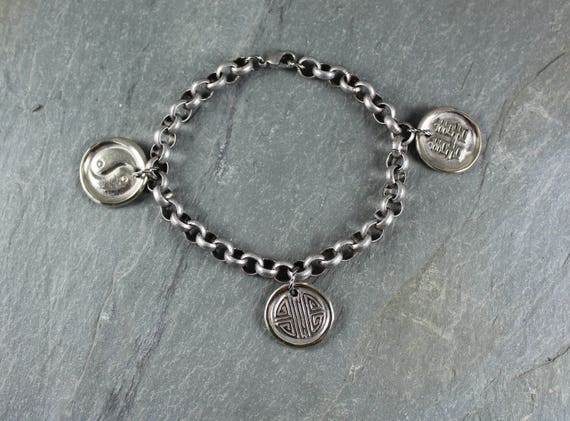 Chinese Symbols Charm Bracelet ~ Artisan Handcrafted ~ Double Happiness ~ Long Life ~ Yin Yang
