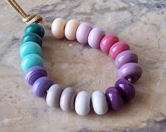 Cold Shades. Colored Lampwork Spacers (20 pcs) 7,5-8,5 mm x 4-5 mm.  The Color Scheme of Pink, Purple, Gray, and Blue Hues.