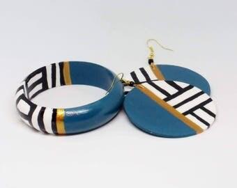Wooden Bracelet Set. Turquoise    Black and White