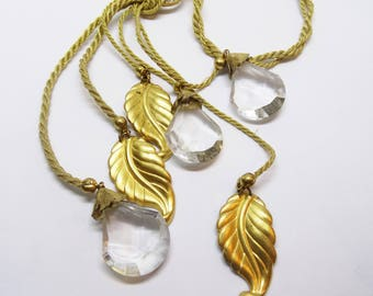 Miriam Haskell Sautoir Style Gold Cord Tassel Necklace Crystal and Leaves