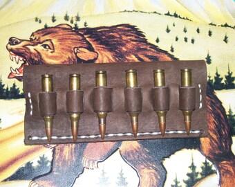 Leather Cartridge Belt slide holder, .243, .270,. 308, .30-30, .30-06, 7mm-08, six round