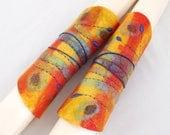 Manchettes-mitaines en laine feutré brodées-feuille à enrouler-Jaune-Rouge-bleu