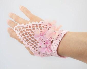 Crochet cuff bracelet-Lace-silk flowers-sequins-turquoise
