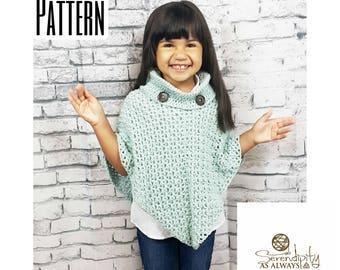 Crochet PATTERN   Cowl Neck Poncho   Women's Poncho Pattern Size 6-16   Girl's Size 2-16 Poncho Pattern   PDF Digital Download