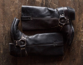 Black Leather Harness Boots - Unbranded Vintage Square Toe Biker Engineer Boots - Women's 5 / 5.5