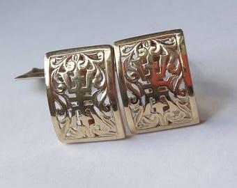 Mings 14k yellow gold longevity clip pierced earrings