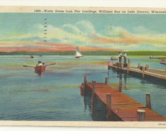 1940s Linen Postcard- Water Scene from Pier, Williams Bay, Lake Geneva, Walworth County, Wisconsin, WI. ~ Free Shipping ~ Very Small Town PC